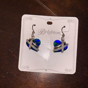 Brighton blue and green heart earrings